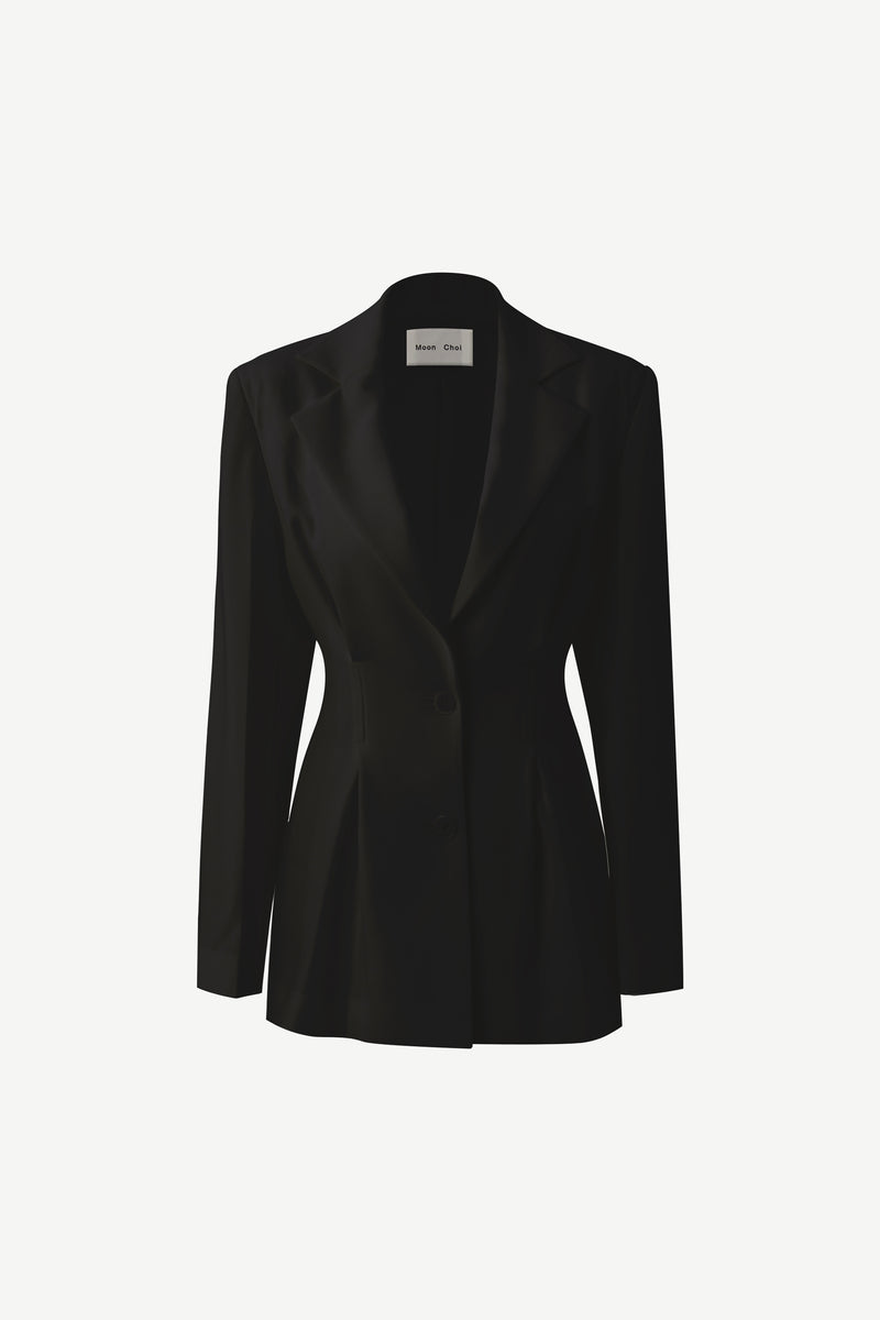 Tailored 2-tucks blazer in black