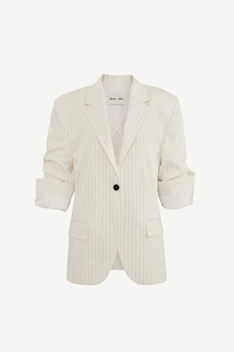 Cuffed sleeve tailored blazer in white stripe