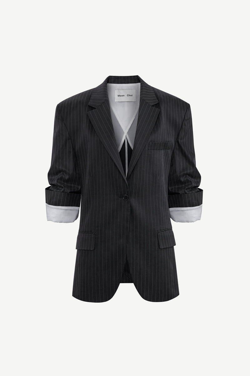 Cuffed sleeve tailored blazer in dark navy stripe