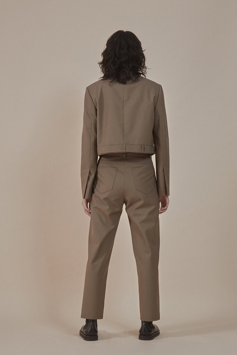 [50% OFF] Taupe | buttoned-up closure trousers