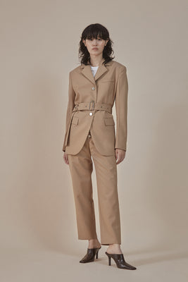[50% OFF] Sand| buttoned-up closure trousers