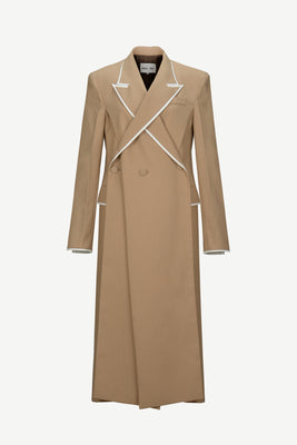 [50% OFF] Overlapped lapel collar tailored coat