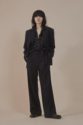 Asymmetrical trousers blazer