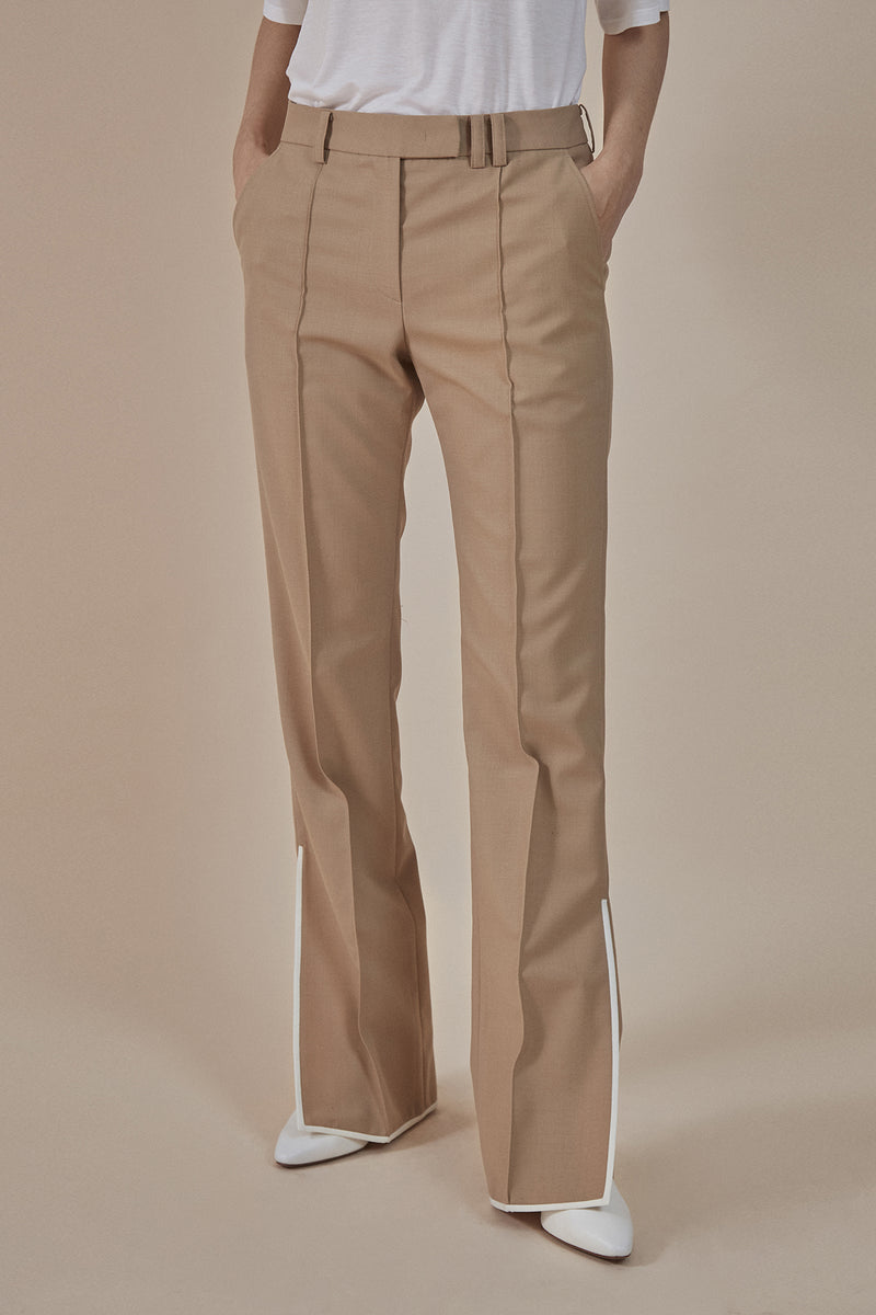 Side-slit flared trousers