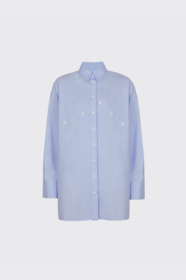 Light blue overlapped double plackets shirt