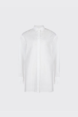 White overlapped double plackets shirt