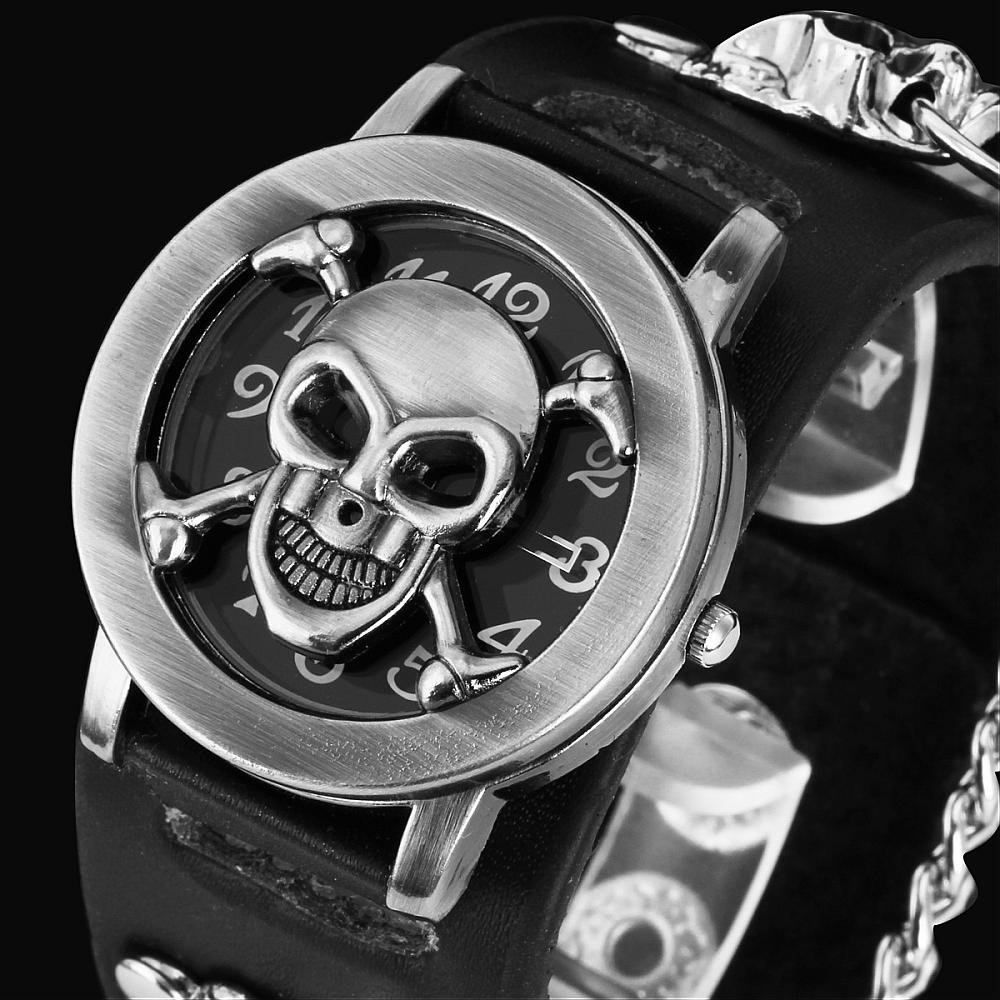 cool gift watch steampunk wrist band sport bullet watches quartz strap from bracelet style in leather mens skull with rock chain item gothic
