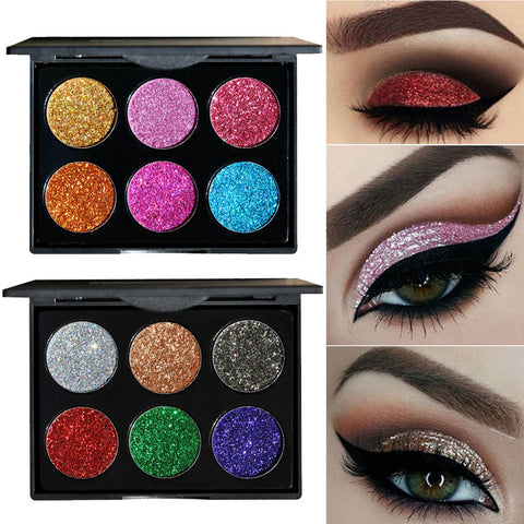 6 Colors Long Lasting Professional Glitter  Eye shadow Palette Gift SetCosmetics