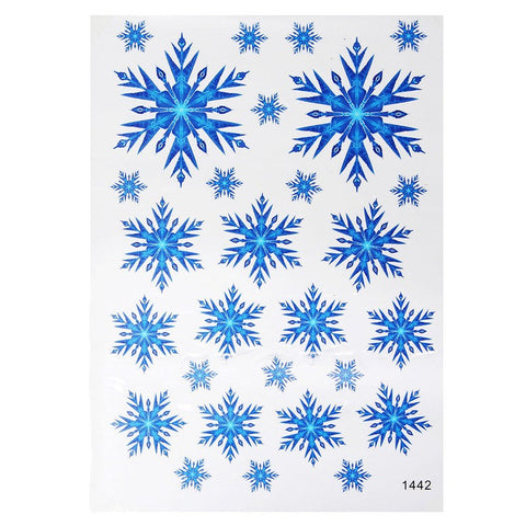 Beautiful Blue Christmas Snowflake Glass Window FilmHome
