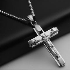 Big and Heavy Chunky Chain Silver Stainless Steel Jewelry Jesus Crucifix New Men's Cross Pendant Necklace For MenJewelry