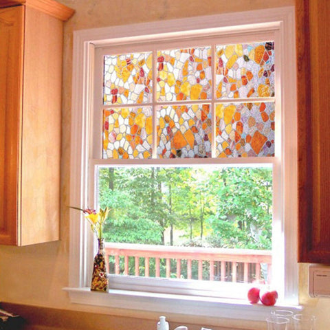 Colorful Cobblestone Glass Decorative Window FilmHome
