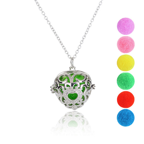 DIY Hollow Out Heart Pendant & Necklace Aroma Perfume Oil Diffuser Locket Charm Aromatherapy Necklace Random Send 6pcs Oil Pads