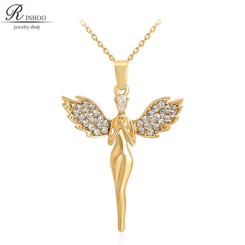 Fashion angel wing cross pendant necklace Chain Knight Cross Gold Color Charm Religious cross Pendant Necklace for women