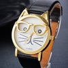 LASPERAL Brand Quartz Watches Women Cute Cartoon Cat Pattern Gold Dial Wristwatch Jelly Color PU Leather Ladies Dress WatchesJewelry
