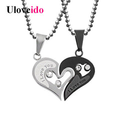 Mens Stainless Steel Chain Black Heart Love Necklaces for Couples Korean Ladies Fashion Trendy Paired Suspension Pendants ModelJewelry