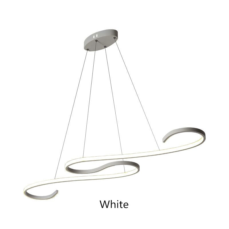 Modern Aluminium Pendant Lights Living Room Dining Curve LED Suspension Lighting Fixtures Minimalist Dimmable Hanging