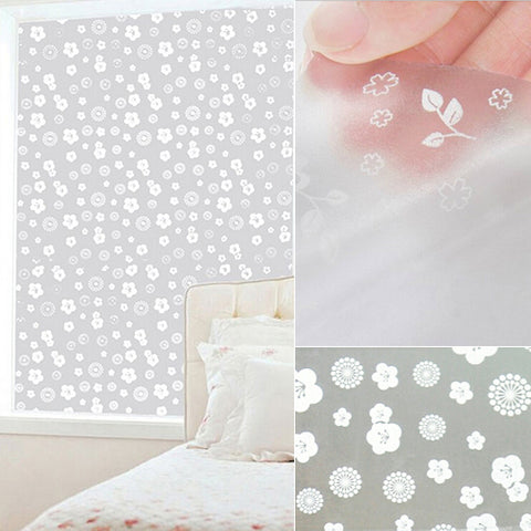 Window Films Privacy Film Static Decorative Film Non-Adhesive Heat Control Anti UV 17.7In. By 78.7In. (45 x 200Cm)Home
