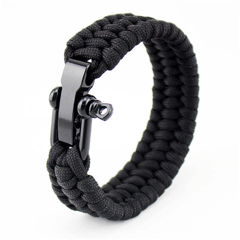 Outdoor Camping Braided Pulseras Rescue Paracord Bracelets Parachute Cord Men Emergency Rope Survival Stainless steel JewelryJewelry