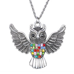 Vintage Style Large Owl Pendant Necklaces For Men Women Colorful Crystal Gun Black Long Necklace Special Jewelry GiftJewelry