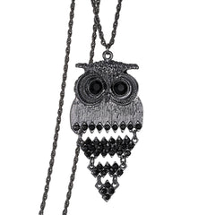 Vintage Women Owl Pendant Neclace Long Sweater Chain Jewelry Golden Antique Silver/Gun Black Charm fashion free shippingJewelry