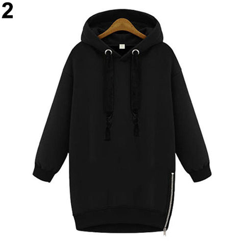 Women Fashion Solid Long Sleeve Loose Outwear Drawstring Hoodie SweatshirtClothing