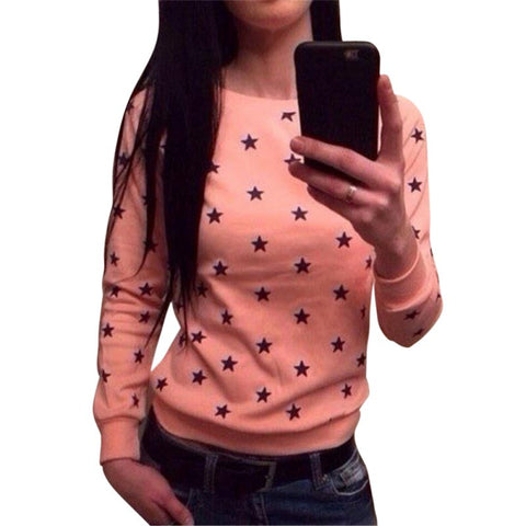 Women Soft Long Sleeve Star Print Sweatershirt Pullover Hoodie Sweatshirt Jumper Tops StylishClothing