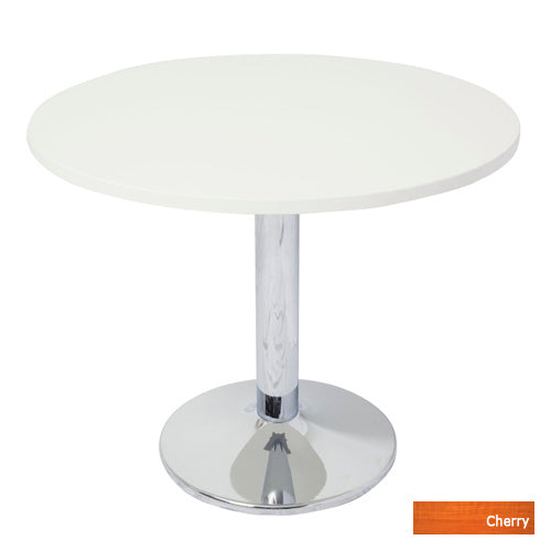 Chrome Base Table Round Top - Cherry