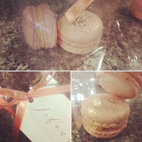 Peach and Rose Gold Macaron Wedding Favours