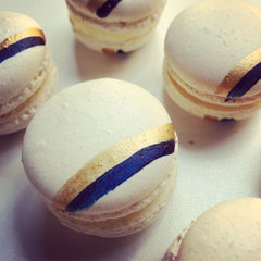 Navy and Gold Striped Custom Macarons