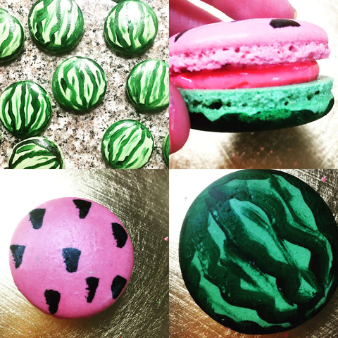 Watermelon themed macarons