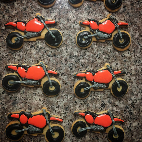 Motorbike motorcycle themed biscuits