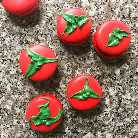 tomato themed macarons