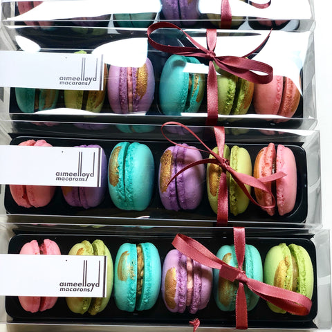 Jewel coloured macaron gift box