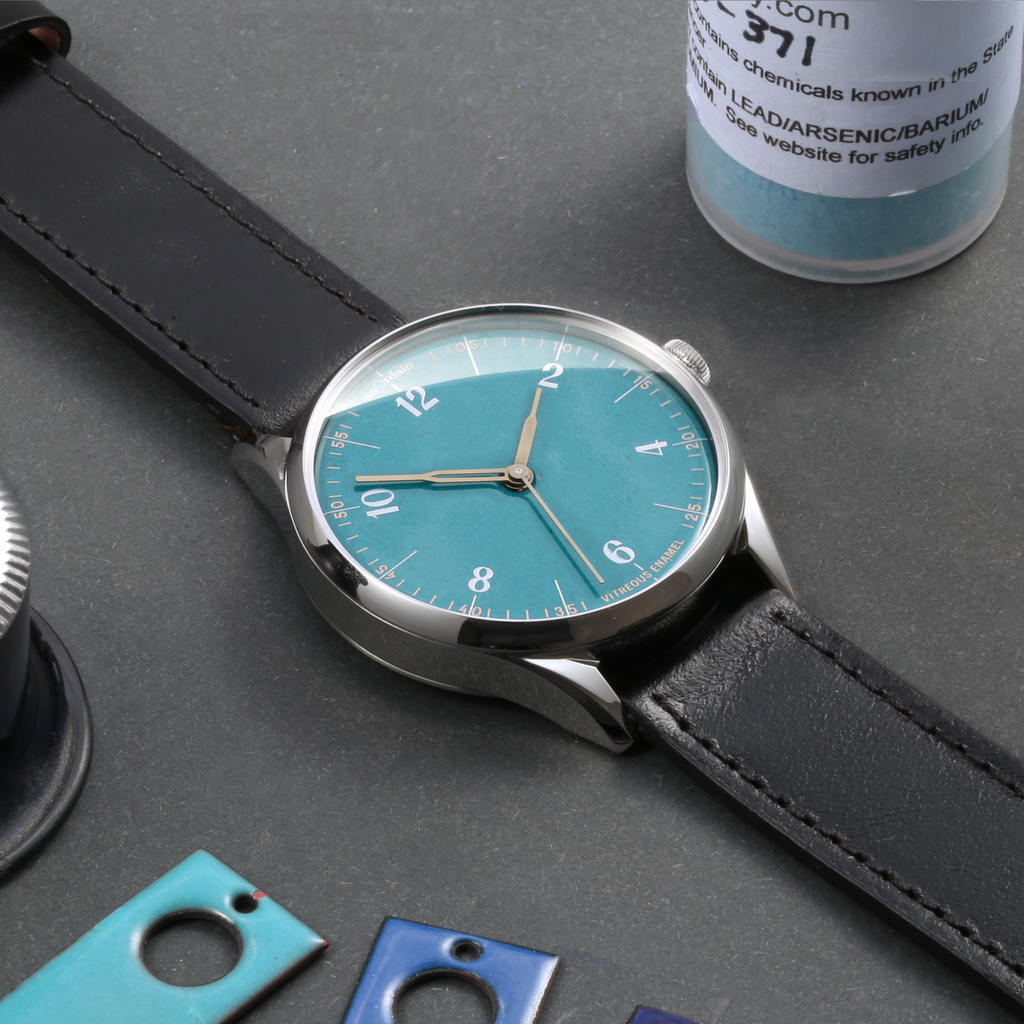 anOrdain's Model 1 with Teal enamel dial and heat treated hands