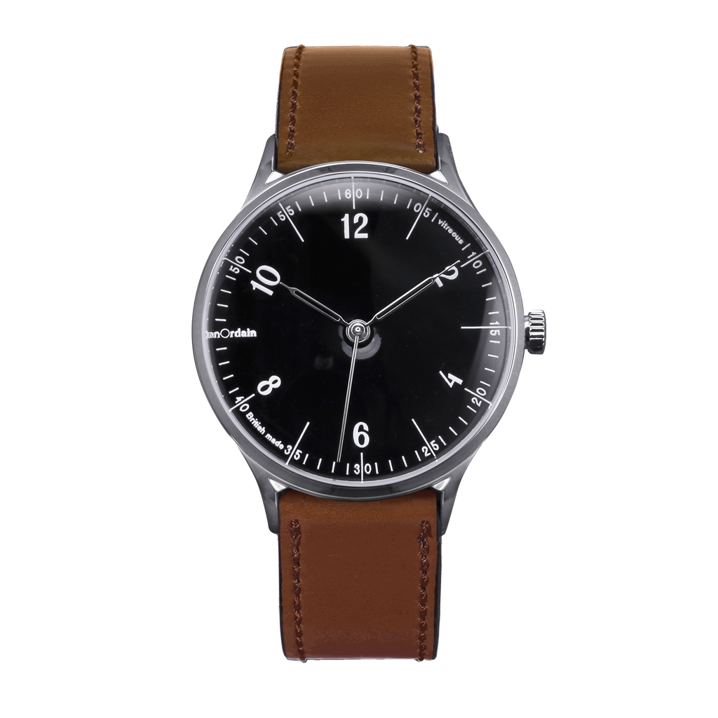 anOrdain Model 1 with black ceramic dial and brown shell cordovan strap