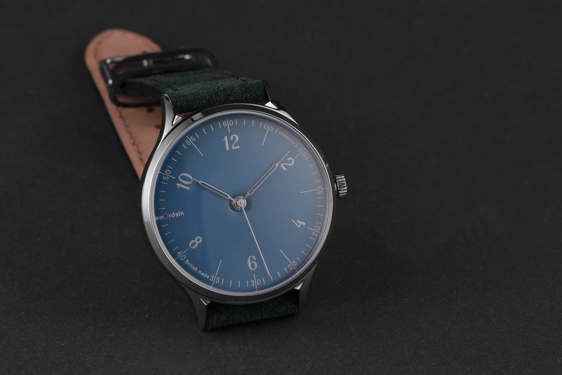 anOrdain Model 1 with green suede strap and hebridean blue dial