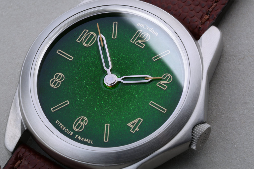 anOrdain Model 2 watch with Midnight Green enamel dial