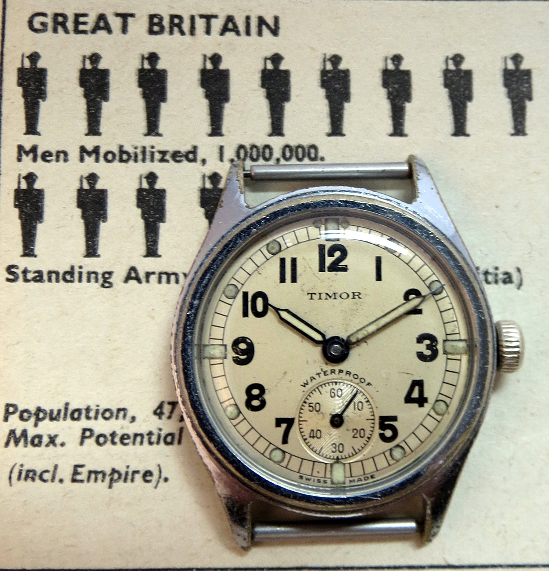 WWII ATP watch with chrome plated brass case by Timor. Note the railroad track minute marker and heavy radium paint on the hands and hour markers.
