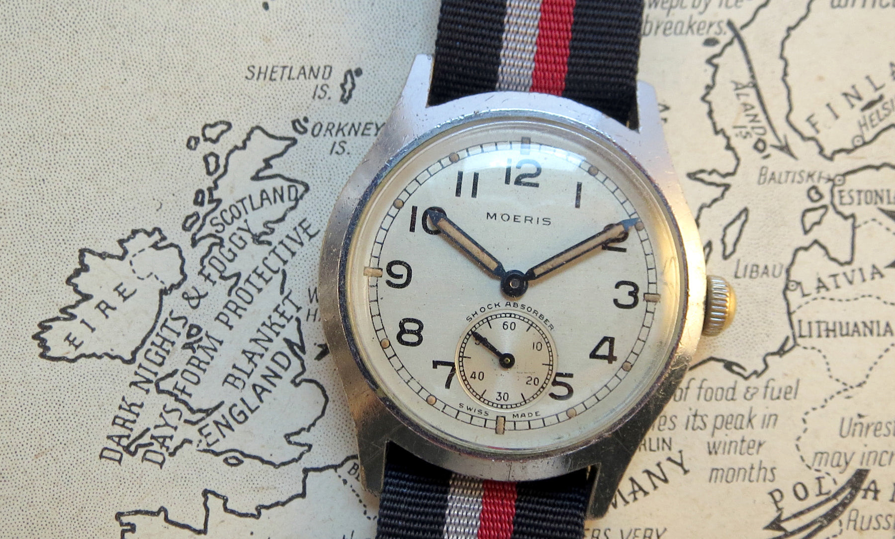 Another ATP watch, this time by Moeris. Note the very similar layout to the Timor, in order to comply with the military specification. Moeris produced an identical watch for the Axis forces although this had an appropriately black coloured dial, compared to the Allied white dialled ones.