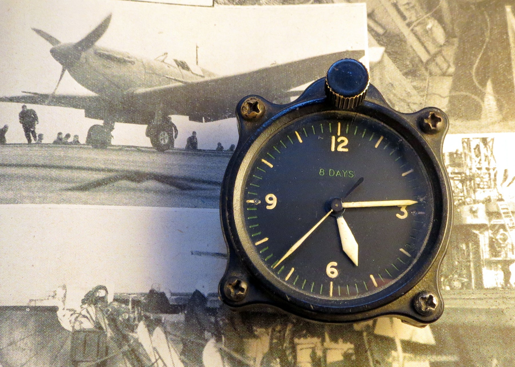 WWII 1941 8-Day cockpit clock, with Jaeger LeCoultre movement, most likely from either an RAF Spitfire or Hurricane.
