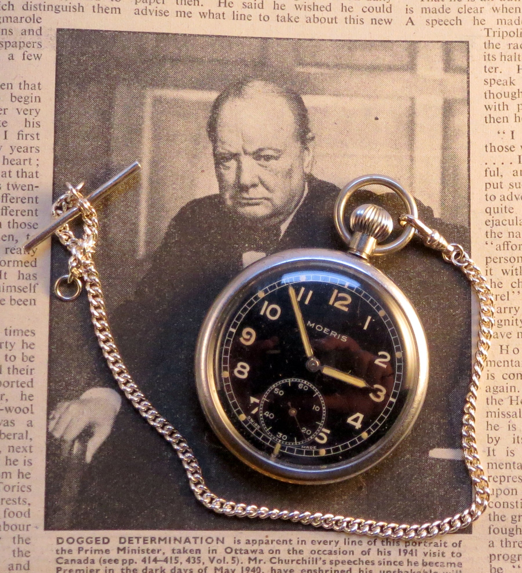 "WWII GSTP pocket watch by Moeris. Winston Churchill remained a committed pocket watch man, continuing to use his 1890 Breguet pocket affectionately known as ""The Turnip"", throughout the war."