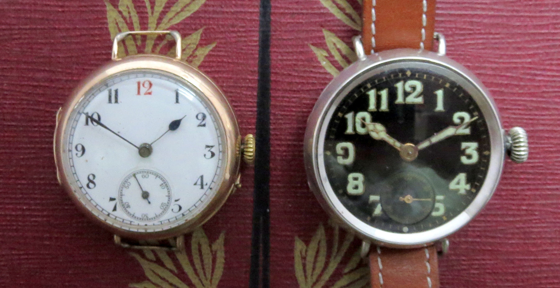 Comparison shot between an early 1914 gold trench watch, almost certainly belonging to an officer, and a later 1918 model.