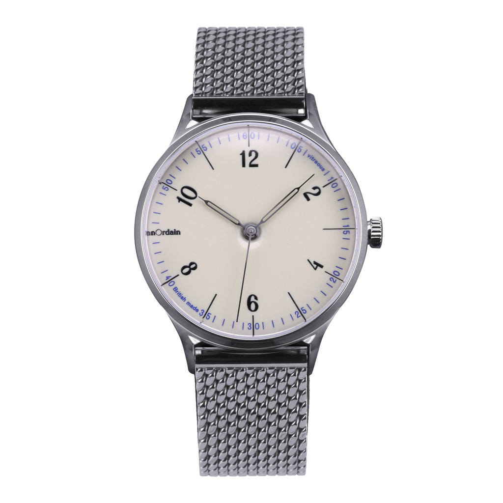 anOrdain Model 1 with iron cream enamel dial and Staib Milanese mesh bracelet