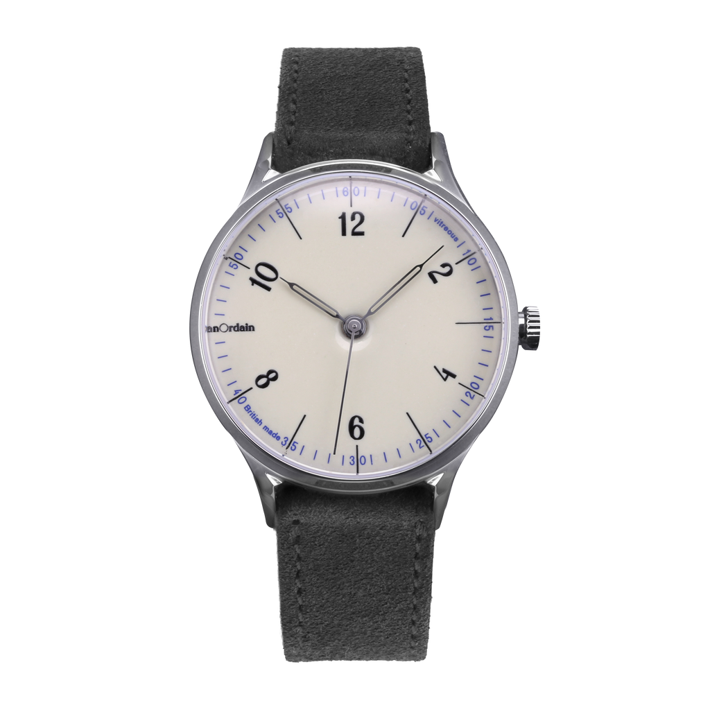 anOrdain Model 1 with iron cream enamel dial and grey suede strap
