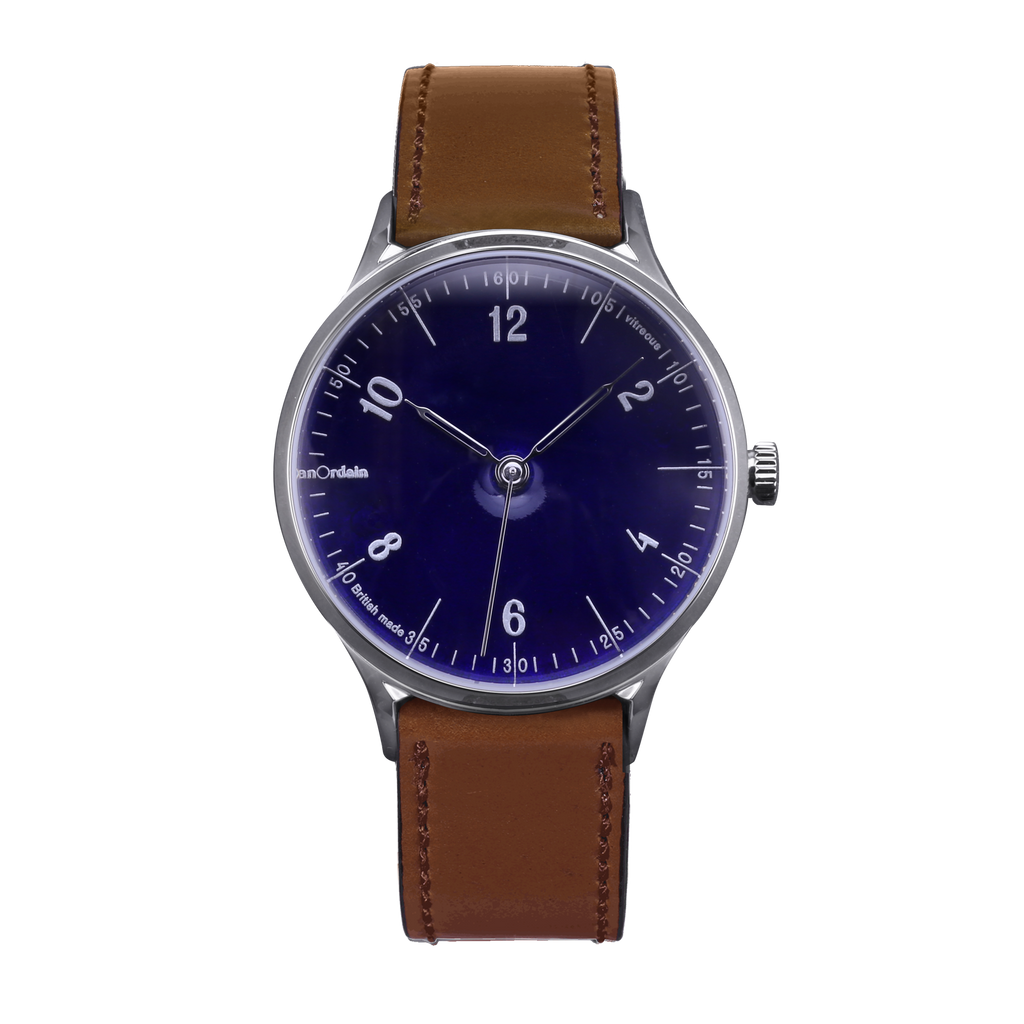 anOrdain Model 1 with translucent dial and brown shell cordovan strap