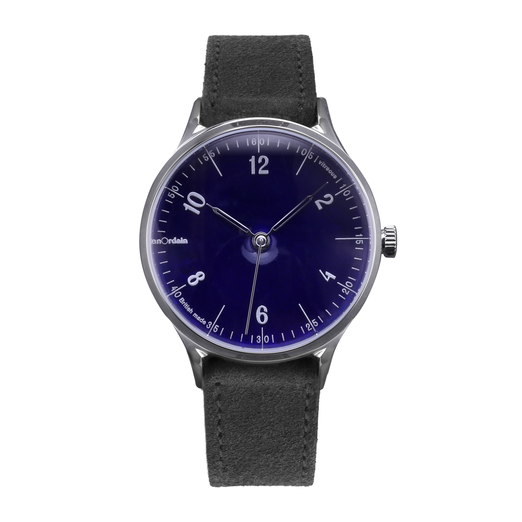anOrdain Model 1 with translucent dial and grey suede strap