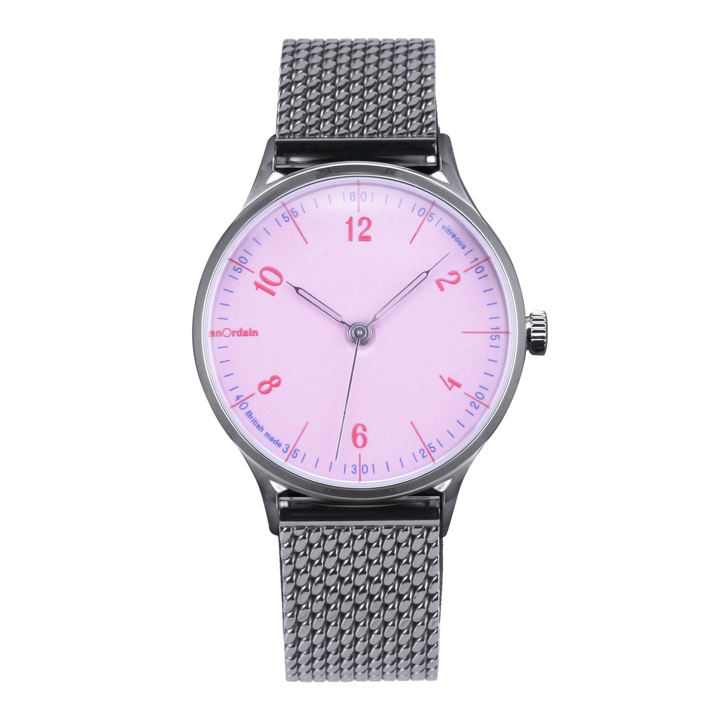 anOrdain Model 1 with pink dial and Staib Milanese mesh strap