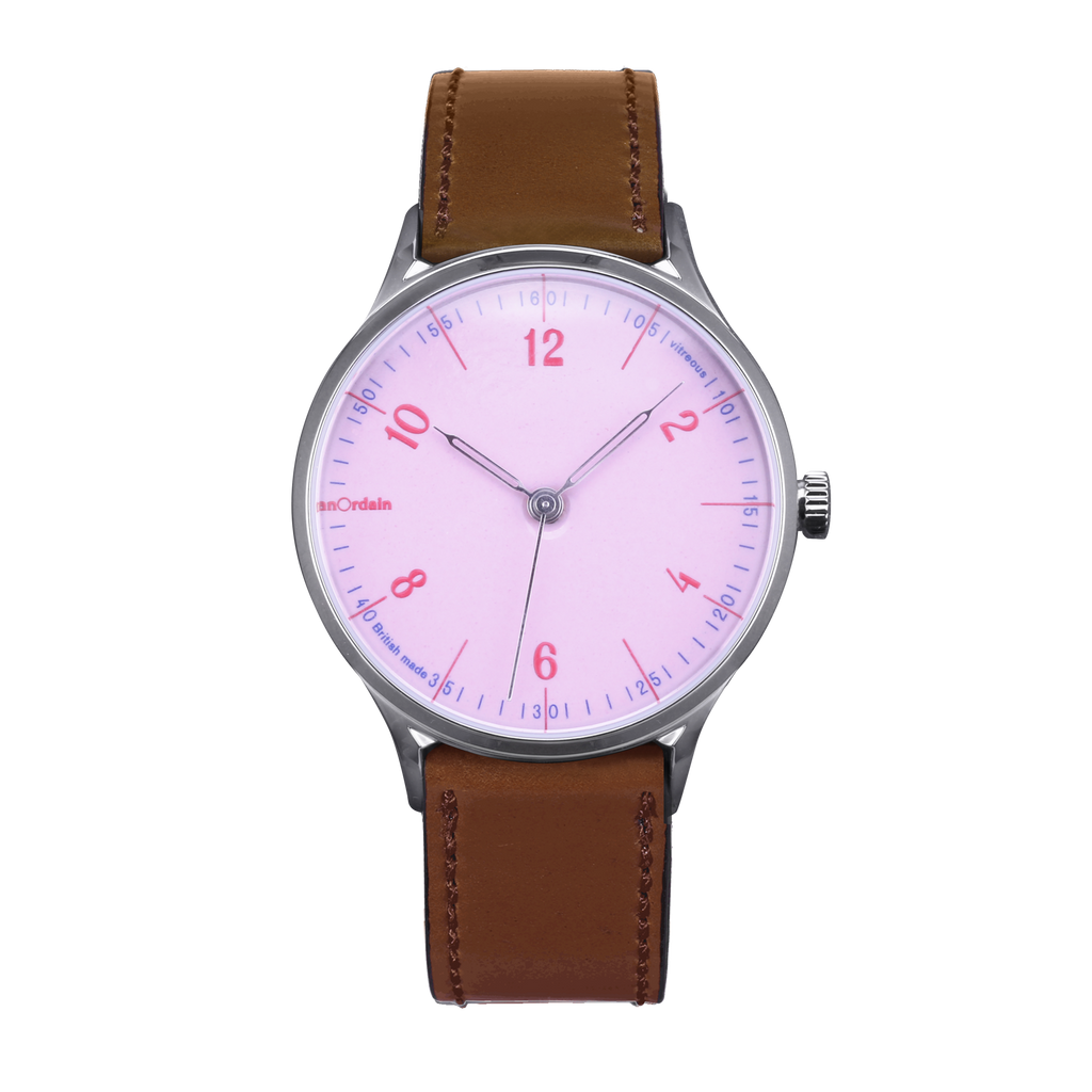 anOrdain Model 1 with pink dial and brown shell cordovan strap