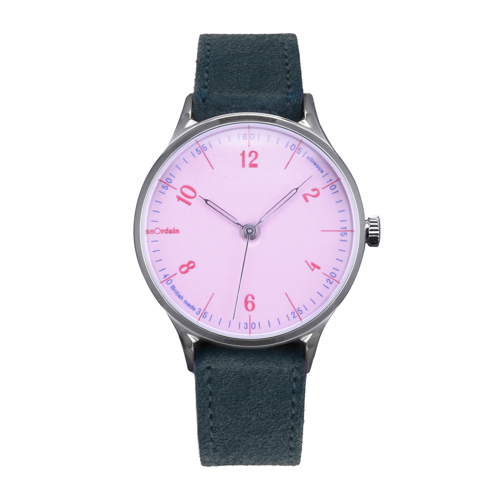 anOrdain Model 1 with pink dial and green suede strap