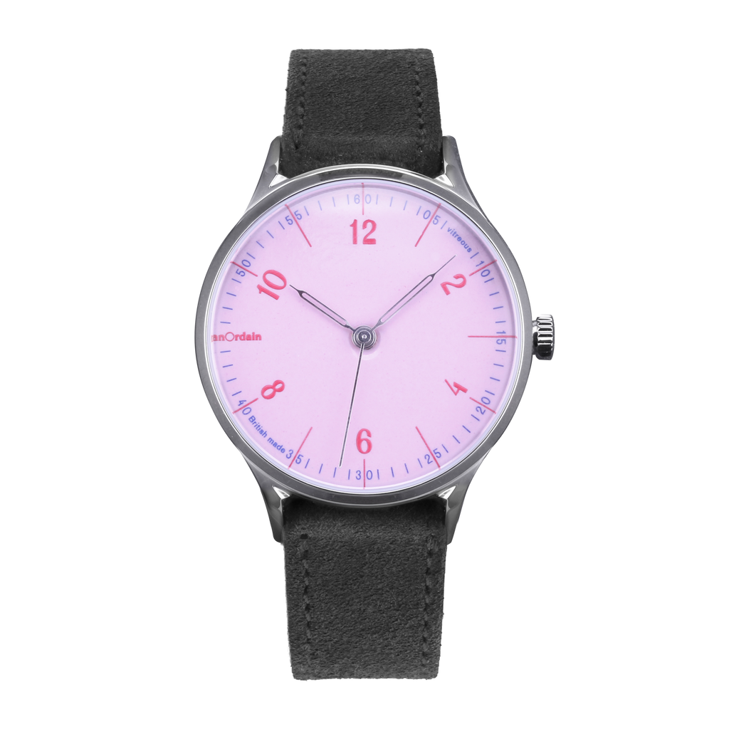 anOrdain Model 1 with pink dial and grey suede strap